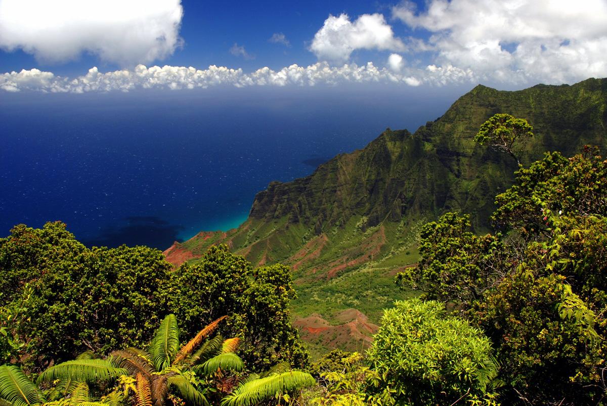 Napali_Coast_Kauai_waterfalls_водопады_Кауаи_острова_красивый_пейзаж