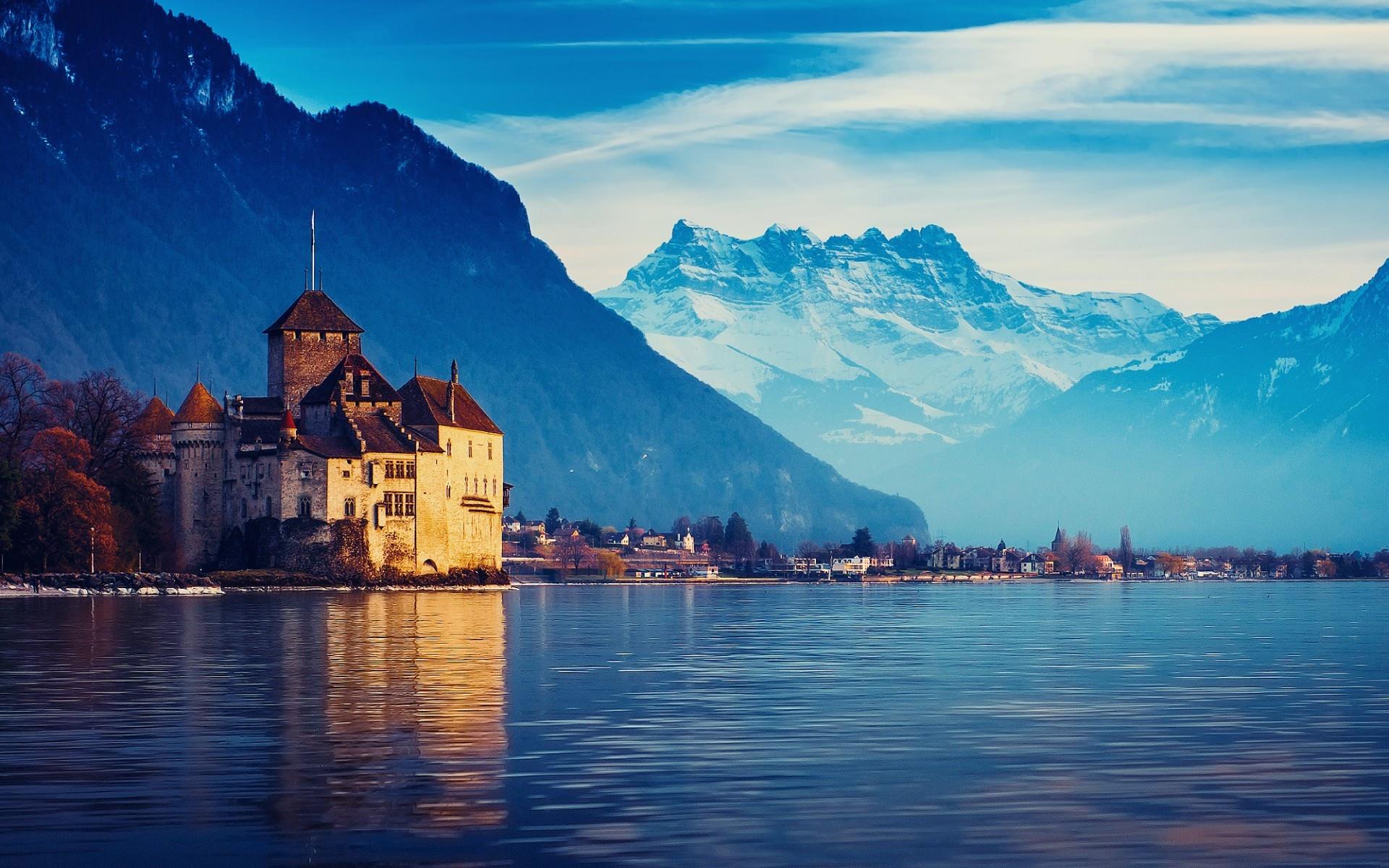 Женевское_озеро_замок_Шильонский_Швейцария
